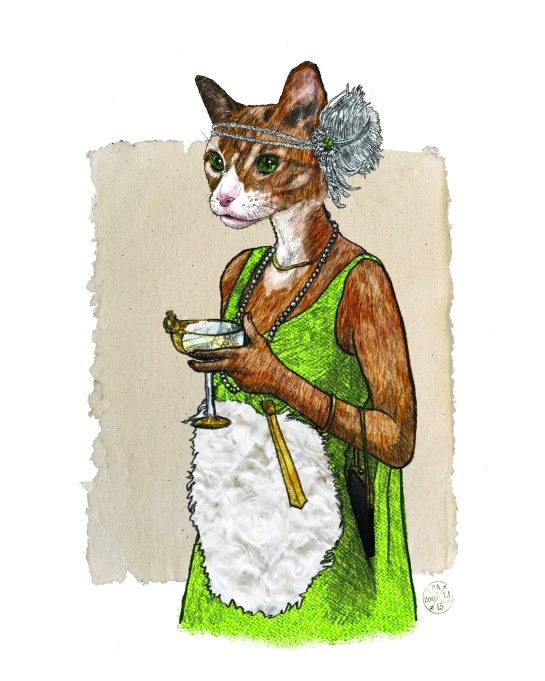 Jory Katz Gatsby Kitty Illustration PAINTED